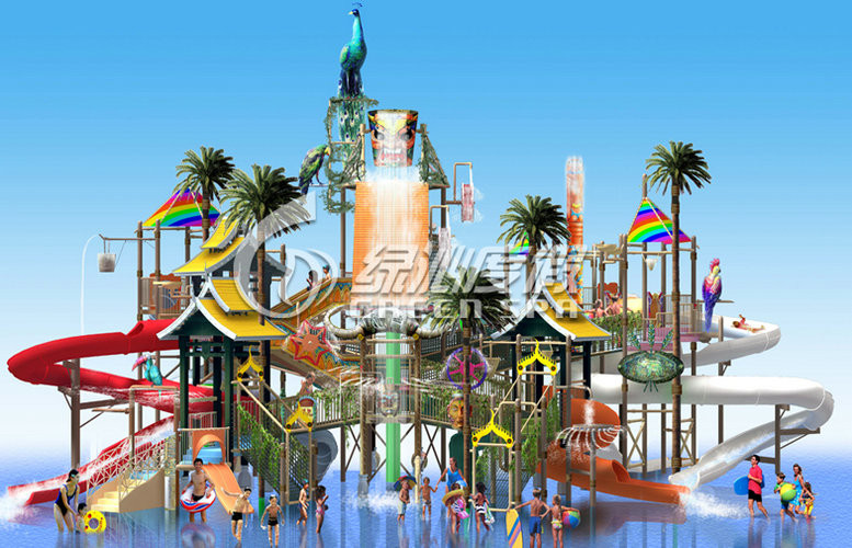 Steel Aquatic Play Structure Fiberglass Slide Water Park for Commercial Park Play Equipment